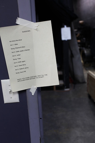 The show rundown, taped up back stage