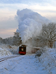Steaming in a Winter Wonderland (2) (Gerry Balding) Tags: trees winter england snow cold ice track norfolk frosty steam rails thunder eastanglia narrowgauge tankengine santaspecial uksteam burevalleyrailway thebestofday gnneniyisi wroxhambank bvr8