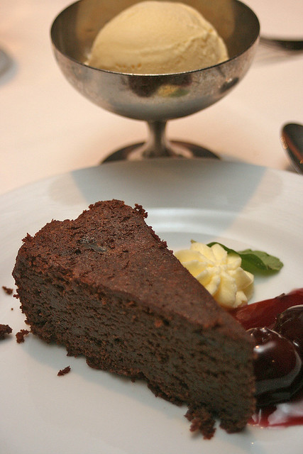 Chocolate Cherry Cake, served with a dollop of Kirsch cream and scoop of vanilla ice cream