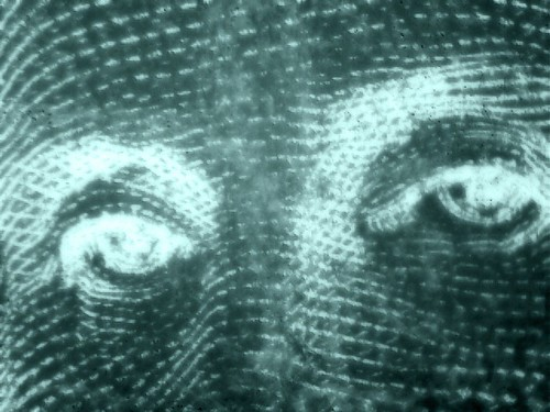 George Washington's eyes on the dollar bill, using Photo booth's x-ray effect