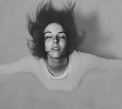 air (shelbyhallimage.) Tags: shadow bw woman white motion black girl face shirt lady mouth hair hall fly movement eyes women wind air teeth lips gravity flip shelby float shut eyelids gravitation levitate gravitate