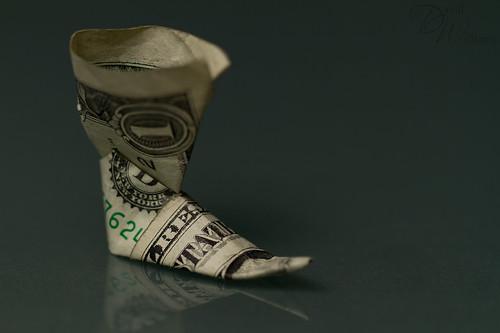 коледен ботуш от доларова банкнота