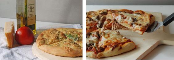 pizza and foccacia made in a bread machine