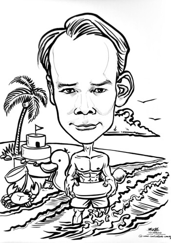 line caricature at beach for colouring