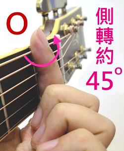 側轉約45度壓弦