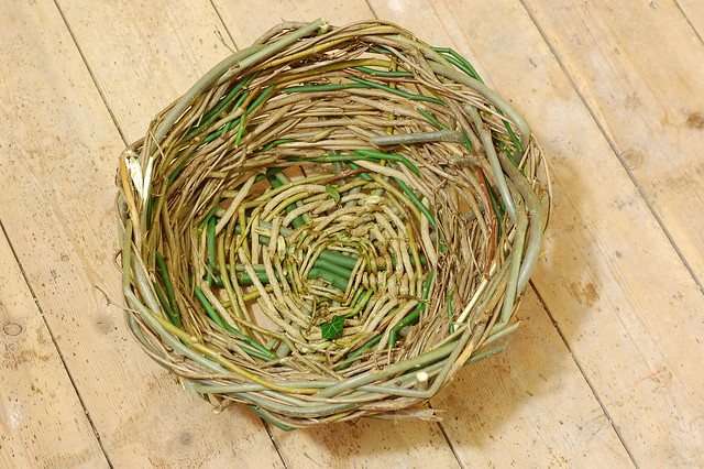 Basket woven from materials gathered locally (eg. dog rose, willow)