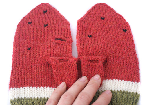 Suzanne's watermelon iPhone mittens
