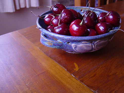 Otago cherries and a beautiful hand-made bowl that my Mum sent for Christmas