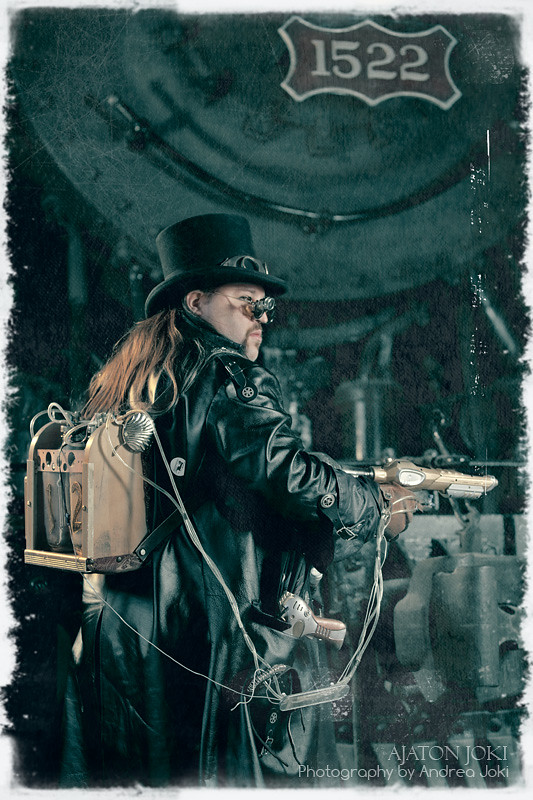Steampunk fashion shoot at the railroad museum with artist Joshua Hart