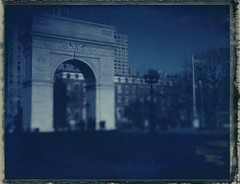 arch (lawatt) Tags: park nyc film polaroid arch manhattan washingtonsquare 4x5 flagpole expired 59 speedgraphic