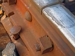 Red Rails (Huntsmann) Tags: railroad red macro rust steel traks