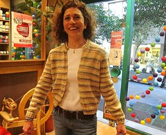 Knitting in wool  makes you happy (sifis) Tags: city wool shop happy knitting modeling group athens yarn greece jacket cardigan s90  sakalak