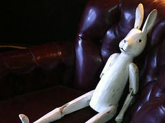 A Wooden Rabbit Sitting In A Leather Chair (mockstar) Tags: animals davidpoe desanimaux