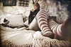 i don't want the fear to confuse ya (Brooke Golightly) Tags: portrait woman selfportrait rabbit stockings socks female cat bed bedroom stripes ears loveshow rabbitmask