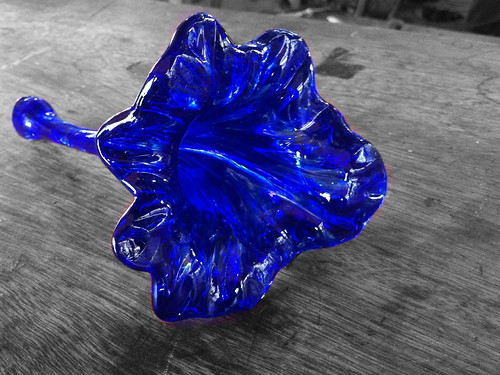 A colorized photo (using Color Splash on an iPhone) of a glass flower