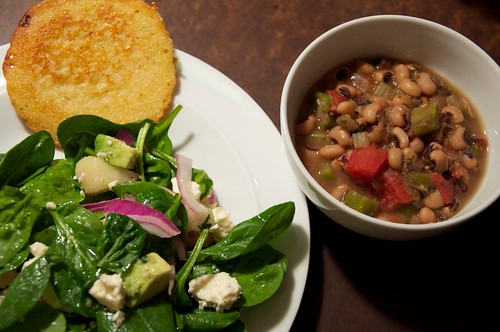 black-eyed pea gumbo & spinach salad