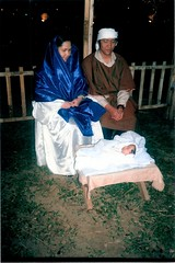 Christmas Pageant, Our son Jonathan as Baby Jesus, Risna and I as Marry and Joseph