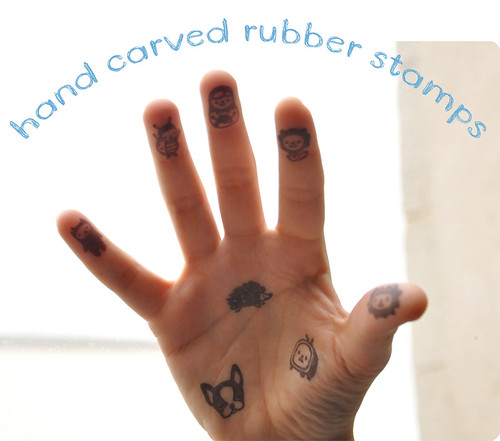New HAND carved rubber stamps!