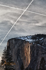 X Marks the Horsetail Falls Firefall in Yosemite National Park (latoga) Tags: california sunset us nationalpark contrail cross unitedstates x yosemite yosemitenationalpark february sierranevada hdr yosemitevalley 2010 lastlight horsetailfalls firefalls