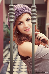 Jailbreak (simongreek) Tags: red portrait people cute girl smile female portraits canon eos bars purple redhead cafeelite