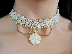 White Handmade Flower and Lace Choker (shaire productions) Tags: wedding woman white flower girl beauty lady female vintage gold photo necklace image blossom handmade lace gothic goth victorian ivory craft style jewelry charm retro wear chain photograph fancy bone ribbon elegant wearable piece custom delicate timeless choker steampunk artsandcrafts artscrafts shaireproductions shaireproductionscom