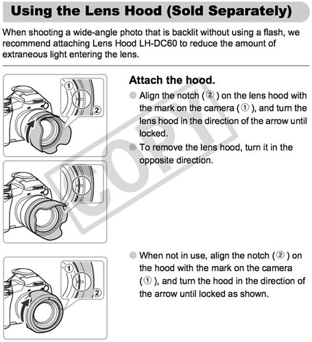 Attaching the Lens Hood LH-DC60, as explained on page 167 of the Canon SX30 IS Manual