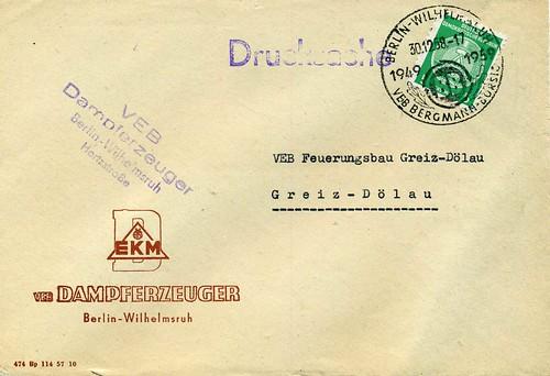 VEB Dampferzeuger, Berlin Wilhelmsruh, 1959.  Dienstbrief.