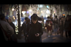 Missing You SMS (soshiro) Tags: christmas street japan canon tokyo candid streetphotography illumination harajuku   omotesando   eos5d  ef135mmf2l