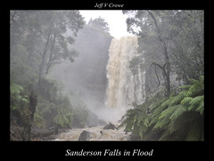 SANDERSON FALLS IN FLOOD .TASMANIA (Jeff Crowe) Tags: travels flickr 5 award australia tasmania tasmanian pristine my httpballoonaprivatthumbloggercom