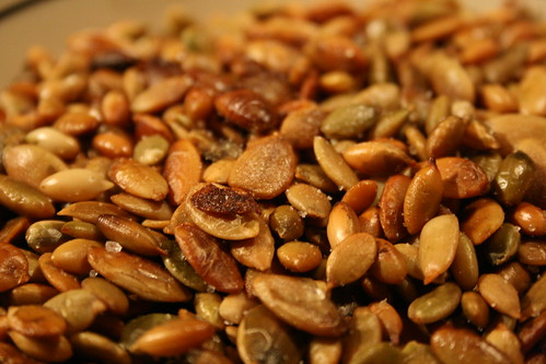 closeup of roasted pumpkin seeds