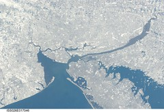 New York City in Winter (NASA, International Space Station, 01/09/11) (NASA's Marshall Space Flight Center) Tags: ocean nyc newyorkcity winter sea snow ny newyork water brooklyn newjersey earth bronx manhattan space nj aerial longisland nasa queens land newark statenisland 1001nights atlanticocean aerialphotography longislandsound spacephotography stationscience crewearthobservation stationresearch