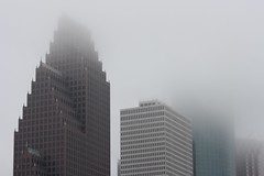 Foggy Shroud over Downtown Houston (maorlando - God keeps me as I lean on Him!!) Tags: winter usa fog architecture texas downtownhouston