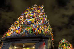 Sri Mariamman Hindu Temple Gopuram (Tower) in Singapore at Night - HDR (David Gn Photography) Tags: roof sky tower monument night clouds temple singapore chinatown indian south religion goddess entrance style landmark historic sri national ganesh gods hindu shrines tamil hdr rama durga deities dravidian gopuram southbridgeroad 3xp mariamman draupadi canoneos7d agamic sigma1020mmf35exdchsm singaporesoldesthindutemple