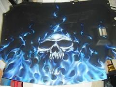 c6 corvette hoodliner - evil skull blue fire (adamdallas.com) Tags: blue adam true fire skull dallas paint flames custom airbrushing airbrush adamdallas adamdallascom