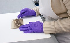 Gloves must be worn when handling photographs as fingerprints can damage the gelatine that forms the surface of the photo.