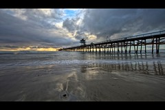 san clemente (Eric 5D Mark III) Tags: ocean california sunset sky usa cloud seascape reflection beach rain canon landscape pier twilight unitedstates perspective wave wideangle orangecounty sanclemente ef14mmf28liiusm eos5dmarkii