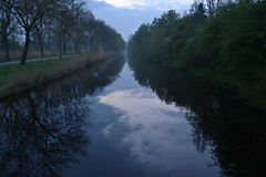 A morning's magic (CaosInMyMind) Tags: morning trees reflection netherlands amsterdam fog alberi clouds wow landscape dawn canal nikon nuvole magic april nebbia paesaggio olanda canale magia riflesso mattina d3100 caosinmymind myyearinamsterdam