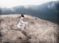 Misty Mountains (Michelle.A.M.) Tags: mist fog foggy winter autumn movement runaway solitary woman girl running whimsical serene mysterious pathway adventure mountain conceptual self portrait brunette ghost secret trail atmospheric