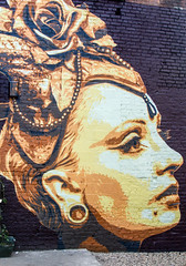 Grand Dame in the courtyard (PDKImages) Tags: art artinthecity manchesterstreetgallery manchester walls murals beauty woman lady girl pretty beautiful skull butterfly bee fish chicks alone joker thejoker sinister sneer hidden ladders checks skyline birds