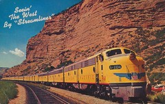 Seein' The West By Steamliner (The Cardboard America Archives) Tags: railroad train vintage postcard unionpacific 1965 streamliner