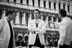 Not Interested (Italian Waiters), Venice (flatworldsedge) Tags: venice white black st cafe eyes san closed candid negro bored tie marks bow marco conversation piazza posh expensive venezia bianco waiters waiter bore upmarket pompous explored italianwaiter