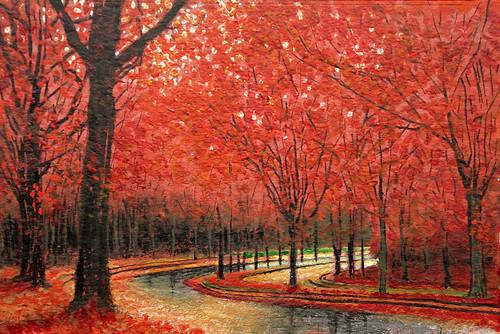 フリー写真素材, 芸術・アート, 絵画・版画, 風景(絵画), 紅葉, レッド,
