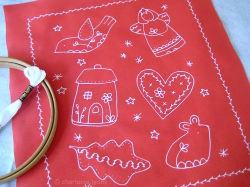 red white ornaments to stitch and hang