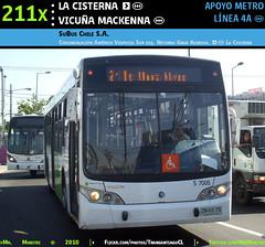 L4A | 211x | LA CISTERNA (EIM) - VICUÑA MACKENNA (M) (Mr. Mobitec) Tags: chile santiago bus buses metro metrodesantiago transporte santiagodechile huelga transantiago intermodal transportepúblico troncal lacisterna granavenida américovespucio subus clonmetro troncal2 subuschile línea4a huelgametro