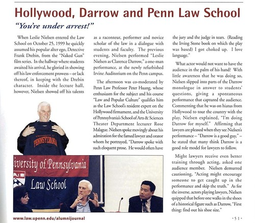 """Hollywood, Darrow and Penn Law School,"" Penn Law Alumni Journal, Winter 2000"