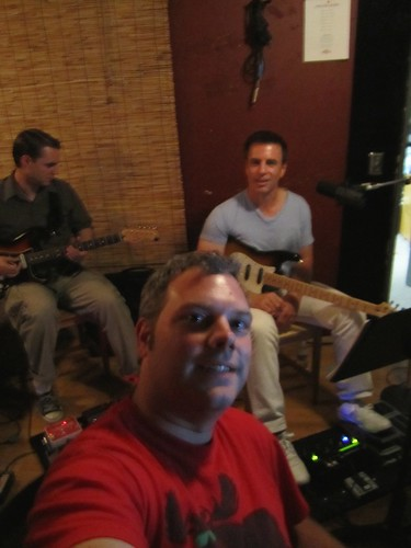 Producer Geoff Ott working on reference tracks with Matt & Dave
