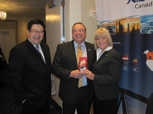 Photo: Government of Alberta. Gary Mar, Alberta's representative in Washington, D.C. shares a laugh with Governor-elect Paul Lepage, R-Maine; and Minister Iris Evans.