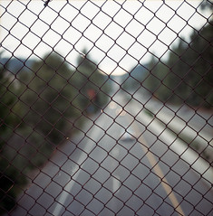Its a Blur Beyond the Fence (DowntownRickyBrown) Tags: zeiss self fence out focus kodak bokeh 4 overpass scan hasselblad carl epson medium format friday premature planar 160 80mm v500 501c ektacolor 28t