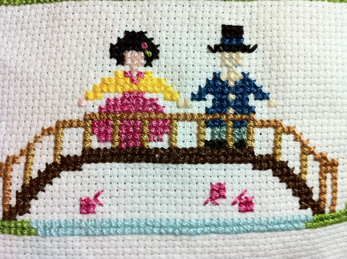 Traditional Korean Home close up - couple on bridge