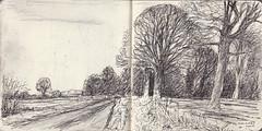Mackney Lane, Oxfordshire (Martin Beek) Tags: winter art pen landscape artwork drawing hiver line winterlandscape britishlandscape britishlandscapes mackney paintinganddrawing selecteddrawings2010 landscapepaintinganddrawing